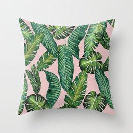 Jungle Leaves, Banana, Monstera II Pink #society6 Throw Pillow