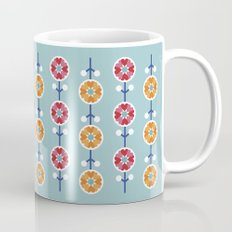 Scandinavian inspired flower pattern - blue background Mug