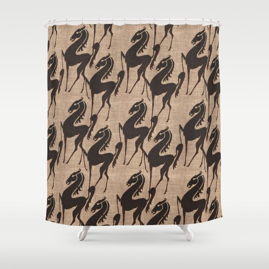 Burlap Horses Shower Curtain