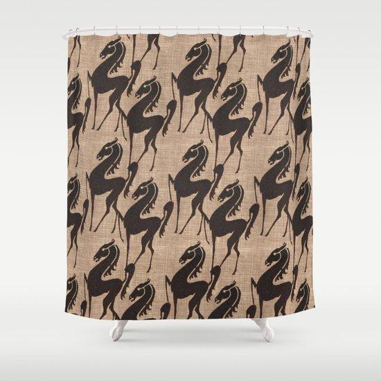Burlap Horses Shower Curtain