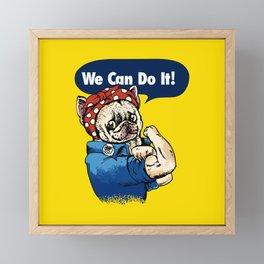 We Can Do It French Bulldog Framed Mini Art Print