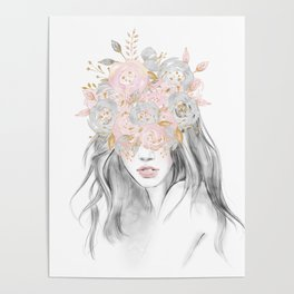 She Wore Flowers in Her Hair Rose Gold by Nature Magick Poster