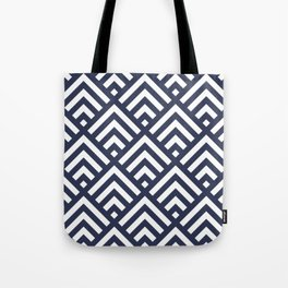 Navy Blue geometric art deco diamond pattern Tote Bag