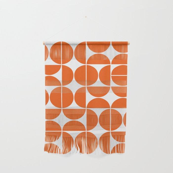 Mid Century Modern Geometric 04 Orange Wall Hanging