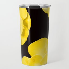 Large Yellow Succulent On Black Background #decor #society6 #buyart Travel Mug