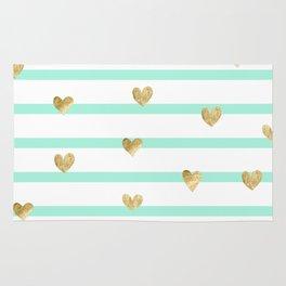 mint gold heart Rug