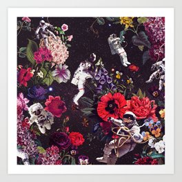 Flowers and Astronauts Art Print
