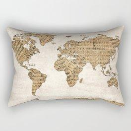 world map music vintage Rectangular Pillow