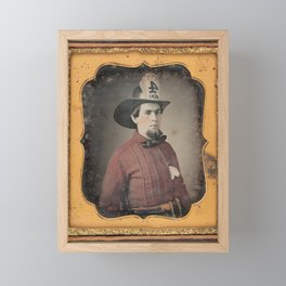Portrait of a Fireman - Daguerreotype Framed Mini Art Print