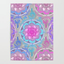 Pink, Purple and Turquoise Super Boho Doodle Medallions Poster