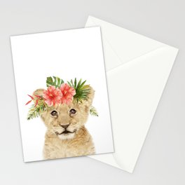 Baby Lion with Flower Crown Stationery Cards