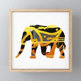 golden silver elephant abstract digital painting Framed Mini Art Print