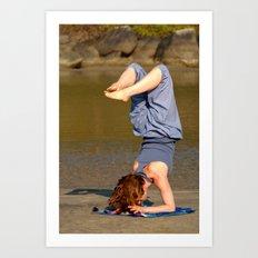 Yoga on Palolem Beach Art Print