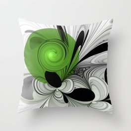 Abstract Black and White with Green Throw Pillow