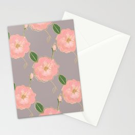 Elegant Pink & Gold Watercolor Roses Gray Design Stationery Cards