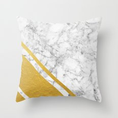 Gold Corner Marble Throw Pillow