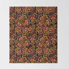 Russian Khokhloma Floral Throw Blanket