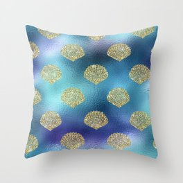 Mermaid Glitter Shell Pattern on Peacock Blue Throw Pillow