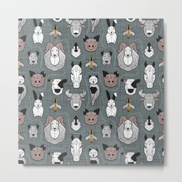 Friendly Geometric Farm Animals // green grey linen texture background black and white brown grey and yellow pigs queen bees lambs cows bulls dogs cats horses chickens and bunnies Metal Print