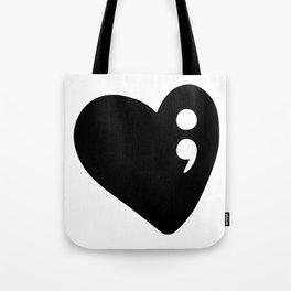 Semicolon Heart for mental health awareness Tote Bag