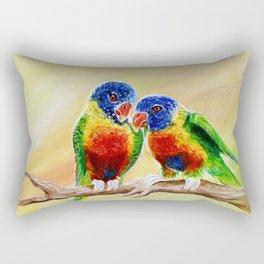 Lovebirds Painting parakeet indonesia Rectangular Pillow