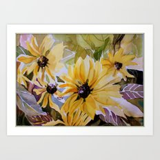 Sunlight through the Daisies Art Print