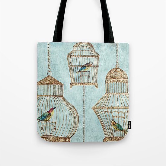 Vintage dream- Exotic colorful birds in cages on aqua background #Society6 Tote Bag