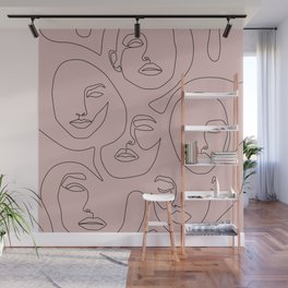 Blush Faces Wall Mural