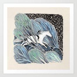 White Gallop Art Print