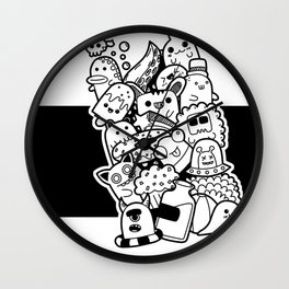 Doodle #1 White Wall Clock