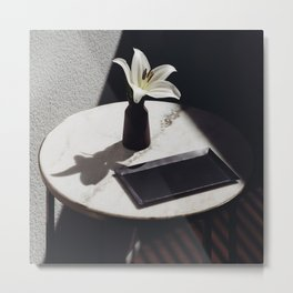 White Lily Flower Still Life Display Metal Print