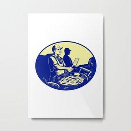 Taco Chef Cook Man Side Oval Retro Metal Print