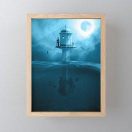 Surreal Fishing Lake Night Mystical Fisher Framed Mini Art Print