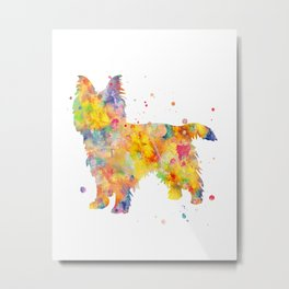 Australian Terrier Dog Watercolor Painting Metal Print