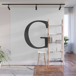 Letter G Initial Monogram Black and White Wall Mural