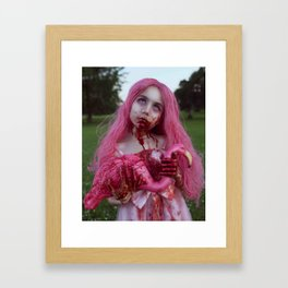Zombie Flamingo Girl Framed Art Print