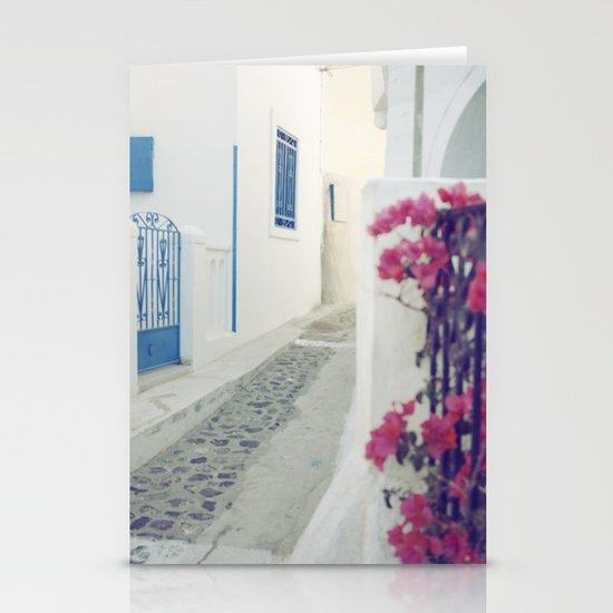 White Santorini Street Stationery Cards
