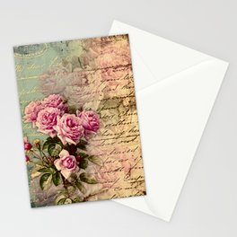 French country chic, rustic, collage, roses,vintage parchment,victorian,belle époque Stationery Cards