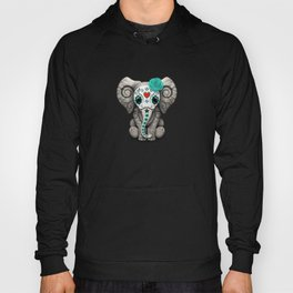 Teal Blue Day of the Dead Sugar Skull Baby Elephant Hoody
