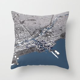 Chicago City Map II Throw Pillow