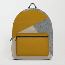 MUSTARD NUDE GRAY GEOMETRIC COLOR BLOCK Backpack