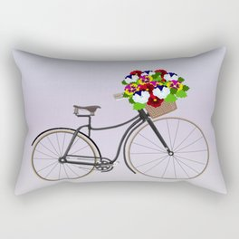 Bicycle Pansies Rectangular Pillow