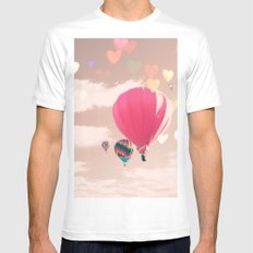 Hot air balloon and heart bokeh on pale pink MEDIUM White Mens Fitted Tee