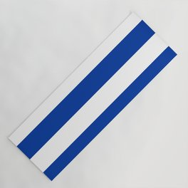 Dark Princess Blue and White Wide Horizontal Cabana Tent Stripe Yoga Mat