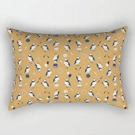 Circus of Puffins - Gold Rectangular Pillow
