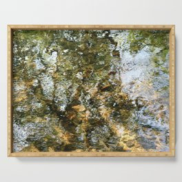 Tree Reflected in Shallow Water Serving Tray