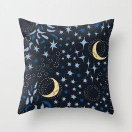 Moon Among the Stars - Stars At Night Version Throw Pillow