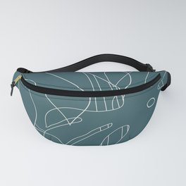 Monstera No2 Teal Fanny Pack