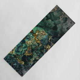 Gold Indigo Malachite Marble Yoga Mat