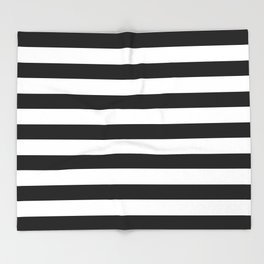 Midnight Black and White Stripes Throw Blanket